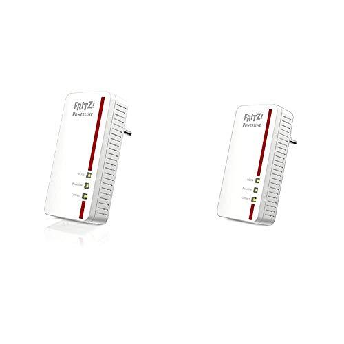 AVM Fritz Powerline 1260E/1220E WLAN Set (WLAN-Access Point) weiß & Powerline 1260E Single-Adapter (1.200 MBit/s, WLAN-Access Point, ideal für Media-Streaming oder NAS-Anbindungen) weiß
