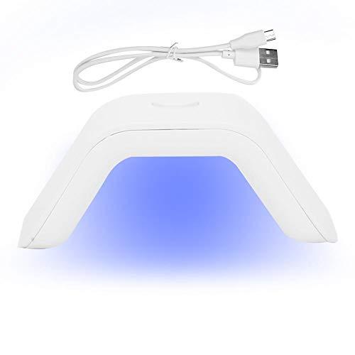 Wchiuoe UV LED Lámpara de uñas 2W Lámpara UV de un solo dedo Mini manicura Secador de esmalte de uñas Lámpara de curado de gel de uñas(blanco)