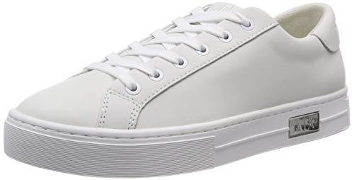 Armani Exchange Damen Cow Leather lace up Sneaker, Weiß (White + White A222), 42 EU