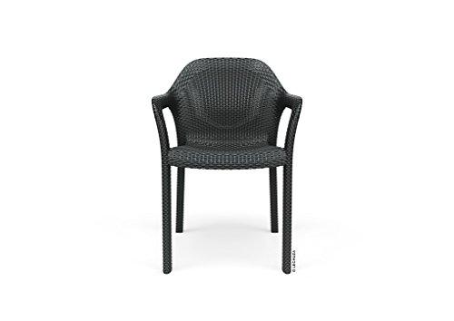 LECHUZA Stapelstuhl, granit, Hochwertiger Kunststoff, Ergonomische, luftdurchlässige Sitzfläche, Platzsparend stapelbar, 10903