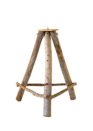 Hiss Reet® Vogelhausständer, Dreibein aus Naturholz I Perfekt für Vogelhäuschen & Vogeltränke in ihrem Garten (Groß)
