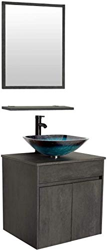 24 Wall Mounted Bathroom Vanity and Sink Combo,Concrete Grey Color Vanity Set, Turquoise Square Tempered Glass Vessel Sink Top,W/ORB Faucet,Pop Up Drain,Mirror Inc
