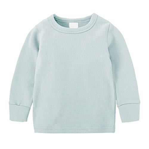 Anglewolf Kleinkind Baby Tops Muster Hosen 2 STÜCKE Set Kleidung Kinder Jungen Langarm/Kurzarm Schlafanzug+ Hosen Outfits Nachtwäsche Sleepwear(A Hellblau,73)