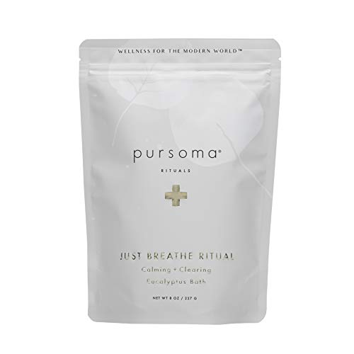 Pursoma Just Breathe Ritual Eucalyptus Bath Salts, Calming and Clearing Bath Soak with Sea Salt, Rosemary, Lavender, and Ginger Root, Vapor Bath for Sinus Relief and Immunity Support, 8 oz