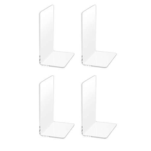 Ufun 4個のプラスチック製のブックエンド 、アクリルブックエンド丸い角を帯びた、ノンスリップクリアブックエンド、 に適し 書籍、映画、DVD、雑誌、寝室本棚の図書館の学校のオフィスに最適、透明、7.3 x 4.8インチ