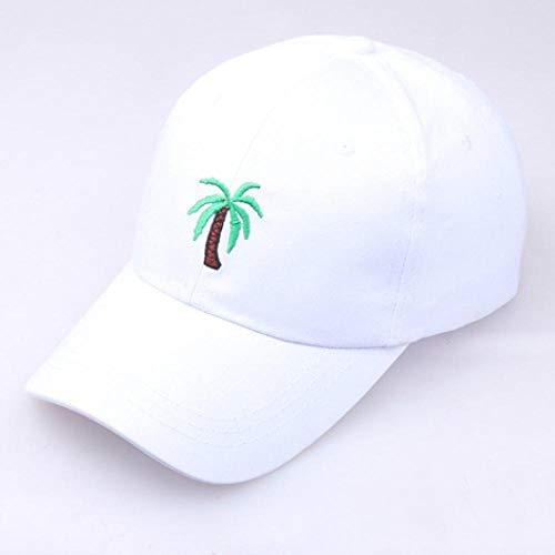 Cap Casquette de Baseball Snapback Casual Mens Dad Hat Coconut Tree Embroidery Baseball Cap Women Summer Travel Beach Sun Caps Hip Hop Gorra Snapback White