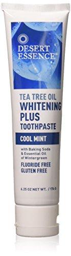 Desert Essence Natural Tea Tree Oil Whitening Plus Toothpaste - Cool Mint - 6.25 Oz - Antiseptic Tea Tree Oil - Zinc Citrate - Baking Soda - Freshens Breath - Reduced Plaque - Fluoride & Gluten Free