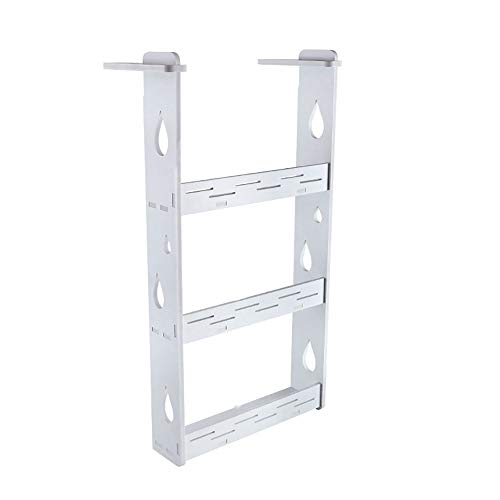 Ryyland-Home Gewürzregal 3 Tier Wall Mount Gewürzregal Organizer Land Metall Küche Draht Küche Spice Lagerung Regal Gewürzregal (Color : White, Size : 35X9.5X70CM)