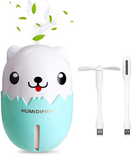 Salandens Humidificador Portable, 350ML Humidificador Recargable LED Difusor de Luz con un Ventilador y una lámpara Perfecta para para bebé, Dormitorio, Yoga, SPA, Oficina, etc(Verde)