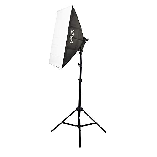 Fovitec 1-Light 1600W Fluorescent Studio Lighting Kit, 24'x36' Softboxes with Light Stand for Product and Portrait Photography and Video Production