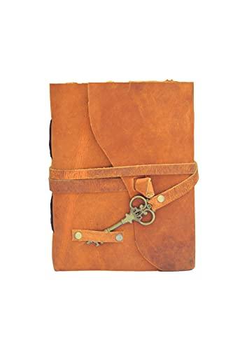 OVERDOSE Diario de cuero vintage con papel quemado Deckle Edge hecho a mano, cuaderno de bocetos de sombras, tamaño Naranja 12 x 17 cm