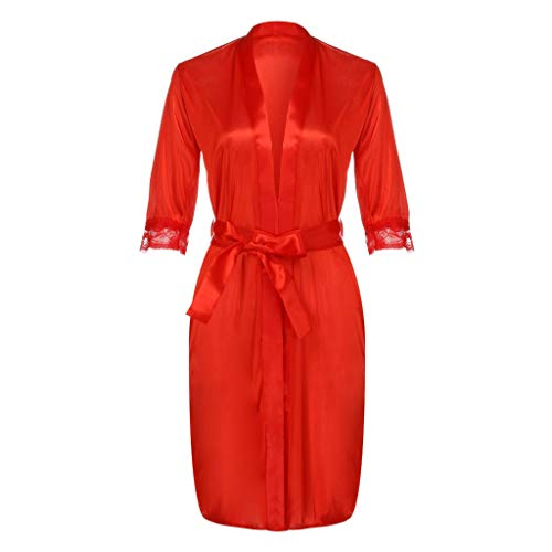MRULIC Damen Sexy Lace Silk Unterwäsche Dessous Nachtwäsche Nachthemd Robe Kleid(Rot,Freie Größe)