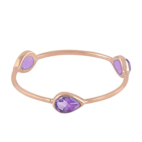 Mettlle 14K Rose Gold Natural Blue Sapphire Three Stone Band Ring for Women Size 6 Amethyst Pink Sapphire Ring