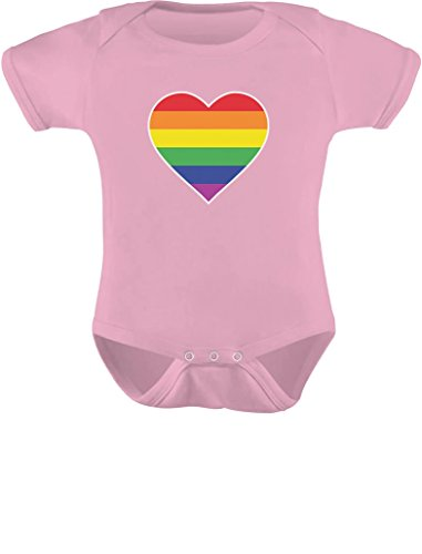 LGBT Baby Outfit Love Pride Gay & Lesbian Rainbow Heart Flag Baby Bodysuit 6M (3-6M) Pink