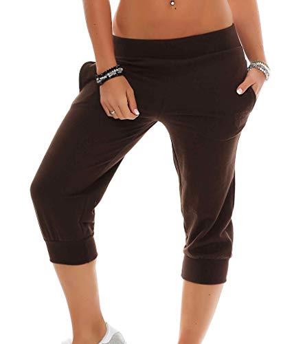 Gennadi Hoppe Damen 3/4 Trainingshose Sporthose Kurze Hose Sport Fitness Jogginghose Shorts Barmuda, braun,M