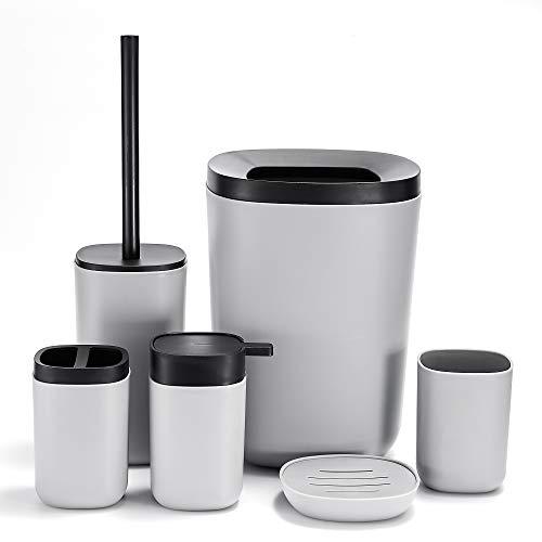 GERUIKE 6-teiliges Set Badezimmerzubehör Robustes Kunststoff-Badezimmer-Set, inklusive Seifenschale, Spender, Zahnbürstenhalter, Zahnputzbecher Toilettenbürste und Mülleimer (grau)