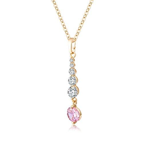 Yazilind Jewelry Schmuck Gold vergoldet Pink Kristall Elegante Damen Halskette mit Anhänger 45cm