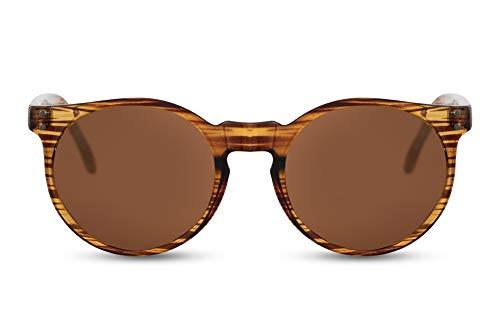 Cheapass Sonnenbrille Rund Braun Holz-Optik UV-400 Retro Wood-en Plastik Damen Herren