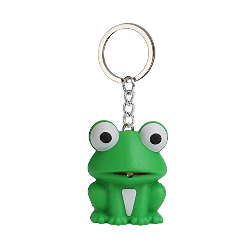 DFVVR Cute Green Frog Keychain with LED Light and Sound Keyfob Kids Toy Gift