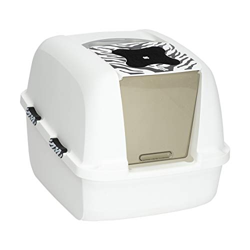 Catit Jumbo Hooded Cat Litter Box, White Tiger, 50696,White-Black