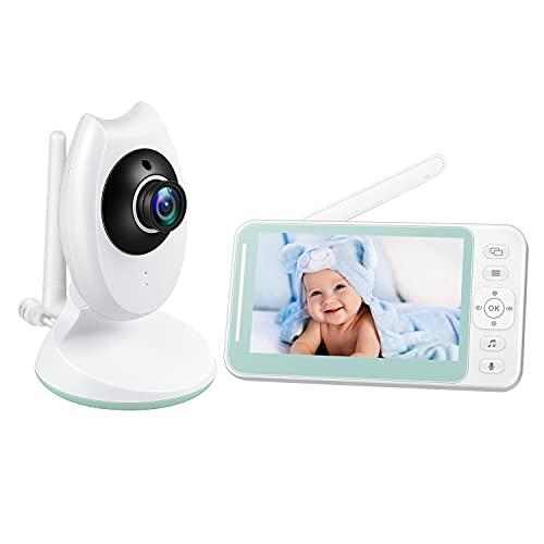 Vigilabebés con pantalla LCD HD de 4,3 pulgadas, Cámara con sensor de Temperatura y VOX, Cámara para BeBés con Audio Bidireccional, 8 Canciones de Cuna, Visión Nocturna