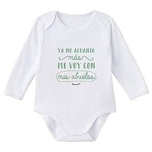 SUPERMOLON Body bebé manga larga Ya no aguanto más me voy con mis abuelos Blanco algodón para bebé 3-6 meses