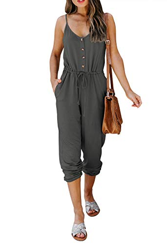 Meenew Women Jumpsuit Casual Long Pants Rompers Spaghetti Straps Jumpsuits Elastic Waist Overalls Dark Grey S
