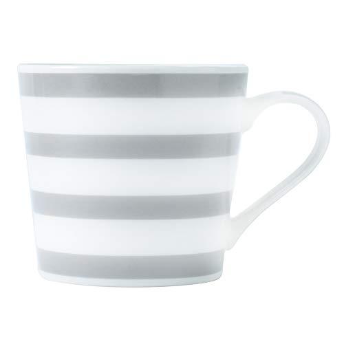 ProCook - Tasse - gestreift - Porzellan - grau & weiß - 425 ml