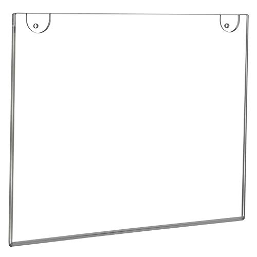 NIUBEE 8x10 Acrylic Sign Holder Horizontal,Clear Wall Mount Sign Holder Plastic Picture Frames for Paper, Bonus with 3M Tape and Mounting Screws(6 Pack)