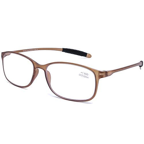 DOOViC Blaulichtfilter Computer Lesebrille Matt Braun/Eckig Rahmen Flexibel Brille mit Stärke für Damen/Herren 1,5