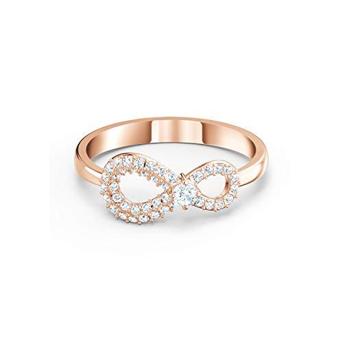 Swarovski Anillo para mujer Infinity Ring de metal, cristal Swarovski 52, oro rosa 32012320