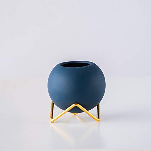 WayGlory - Vaso rotondo moderno in ceramica per piante grasse e cactus, con supporto in metallo (blu scuro)