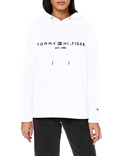 Tommy Hilfiger TH ESS Hilfiger Hoodie LS Sudadera con Capucha, Blanco (White), L para Mujer