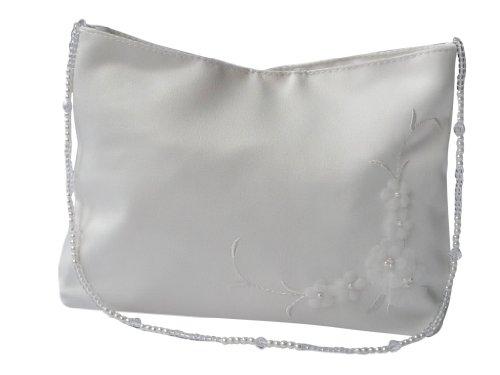 hochzeits-shop-hamburg Brauthandtasche Blüten mit Perlenkette Ivory Masse ca.19 * 12cm