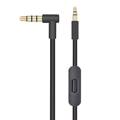 Replacement Audio Cable Cord Wire with in-line Microphone and Control Compatible with Beats by Dr Dre Headphones Solo/Studio/Pro/Detox/Wireless/Mixr/Executive/Pill (Black)