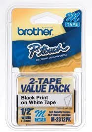 Genuine OEM brand name Brother M-2312PK Black on White Tapes 0.5