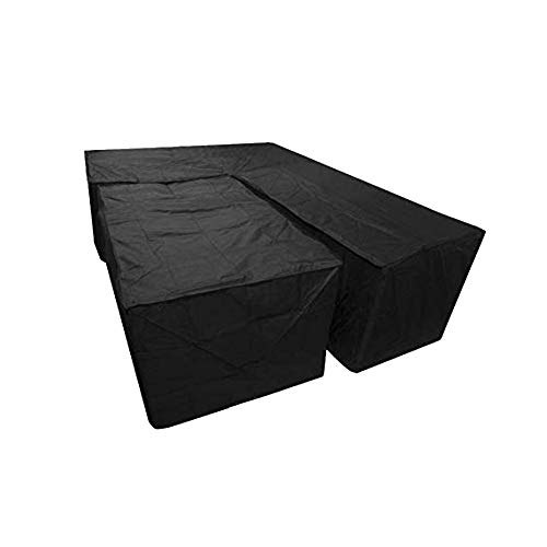 Blentude 2Pcs/set Waterproof L Shape Dust Cover And Rectangular Cover Garden Furniture Covers Heavy Duty Windproof Anti-UV Cube Corner Furniture Sofa Rattan Cover For Outdoor Patio Table And Chairs
