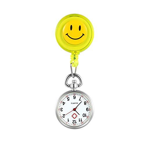 LANCARDO Uhren, Krankenschwester Armbanduhr FOB-Uhr Damen Lächeln Digitale Analog Revers Stretch Taschenuhr (gelb)