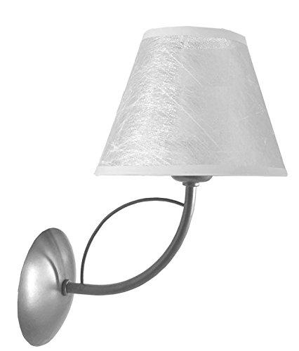 3643/S/PD wandlamp, zilverkleurig, met conische lampenkap, versierd in zilver.