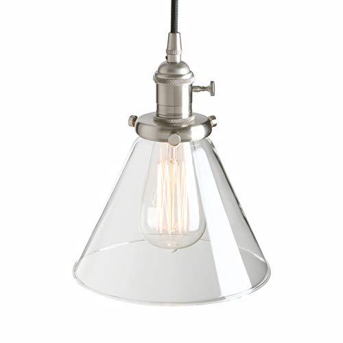 Pathson - Lámpara de Techo Colgante Industrial de Cristal de 7,3 Pulgadas con Forma de Cono, Cepillado 60.0W