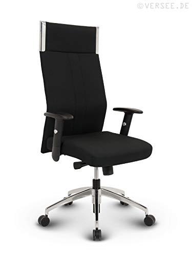 VERSEE Profi Bürostuhl Chefsessel Black-Line - Stoff - Schwarz - Drehstuhl Bürodrehstuhl + hochwertige Verarbeitung + massives Metall-Gestell + Aluminiumfußkreuz poliert 150 kg belastbar