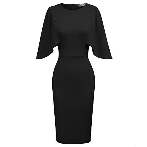GRACE KARIN Abito Donna Eleganti da Cerimonia Nero Vestito Tubino Elegante da Matrimonio Banchetto Sera 2XL CL011106-1