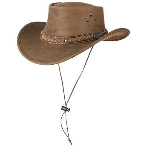 SCIPPIS Townsville Lederhut Herrenhut Cowboyhut Westernhut Outbackhut (XL (60-61 cm) - braun)