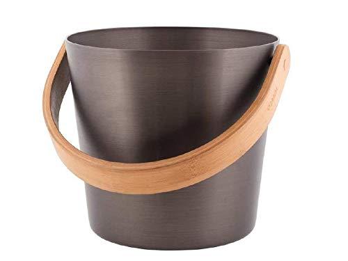 Rento - Design Saunakübel/Saunaeimer mit Handgriff - Aluminium/Ökologischer Bambus wärmebehandelt, Teerbraun, 5 Liter