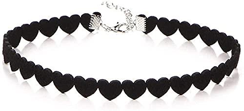 PPQKKYD Collar Lindo diseño de corazón Collar de Terciopelo Negro Collar gótico Tatuaje Corto Cocker Spaniel sin Cuello para Mujer Collar de joyería de Cuello Vipe
