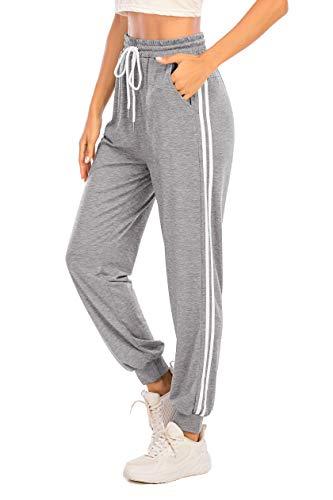 Enjoyoself Pantalon Femme de Sport pour Fitness Jogging Gym Yoga Pyjama d'intérieur Casual Ample Extensible avec Bande Confortable Gris S
