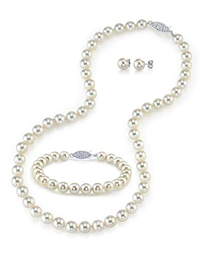 THE PEARL SOURCE 14K Gold 6.5-7mm Round White Akoya Cultured Pearl Necklace, Bracelet & Earrings Set in 18