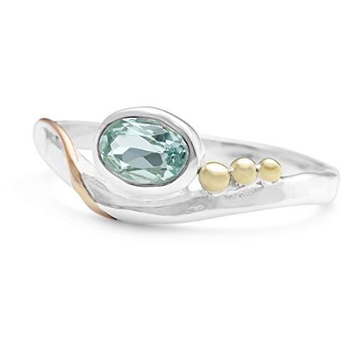 Banyan Jewellery - Anello da donna in argento Sterling 925 con topazio blu sfaccettato ovale e Argento, 52 (16.6), colore: Blu, cod. Ri0983