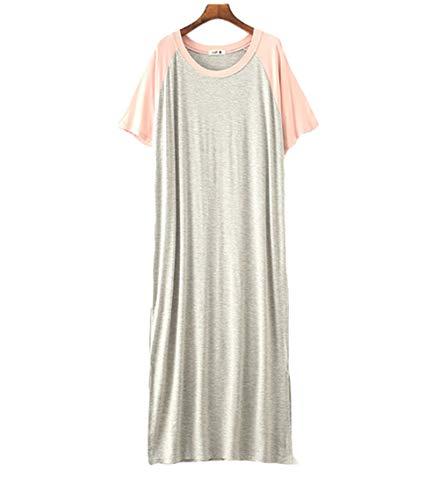 Camicie da Notte Premaman Abito Modale Vestito Donna Casual Taglie Forti Pigiama,Premaman Pigiama Estivo (Grigio,Taglia Unica)