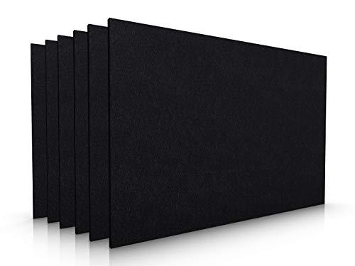 Casoro Waschbares 6er Set Filz Platzset in schwarz. Modernes, edles Tischset für alle Gelegenheiten. Platzmatten je 30x45cm groß